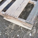 Using scrap pallet wood to stabilize the pallets.