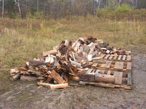 Firewood unloaded near the pallets for stacking.